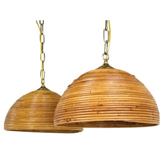 Pair of Rattan Dome Pendants For Sale