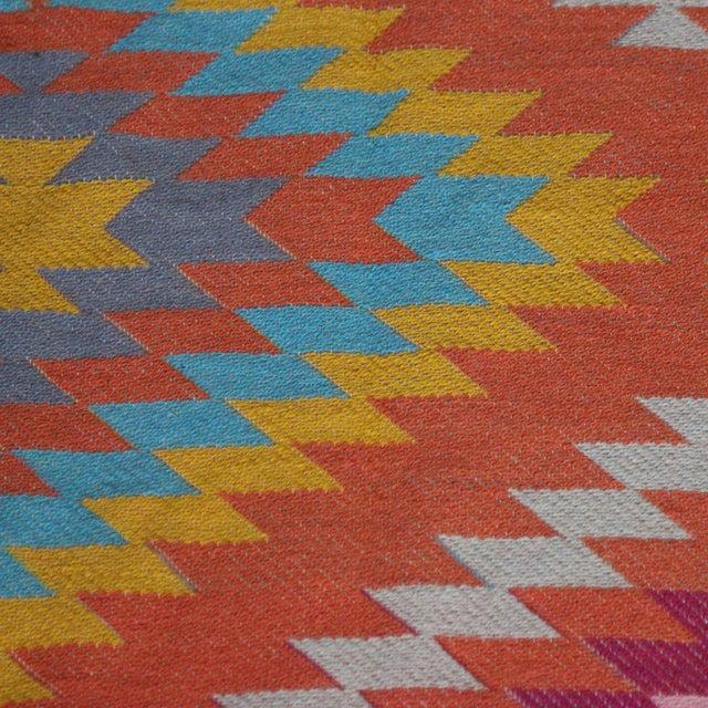Rainbow Flat Weave Diamond Turkish Wool Kilim Rug - 4' x 6' - Image 5 of 12