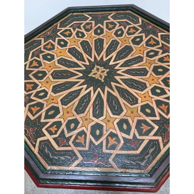 Paint Moroccan Hand-Painted Dark Green Octagonal Side Table For Sale - Image 7 of 10