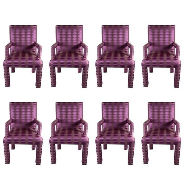 Mid-Century Modernist Eight Dining Chairs in Amethyst and Violet Bergamo Fabric For Sale - Image 9 of 9