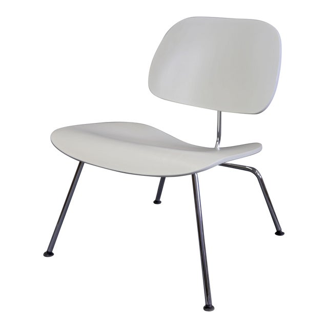 Mid-Century Modern Eames Style White Lounge Chair For Sale