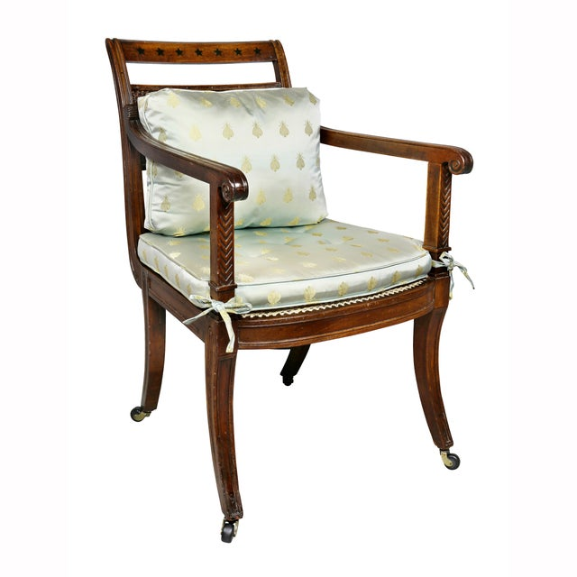 Black Regency Mahogany and Ebony Inlaid Armchair For Sale - Image 8 of 13