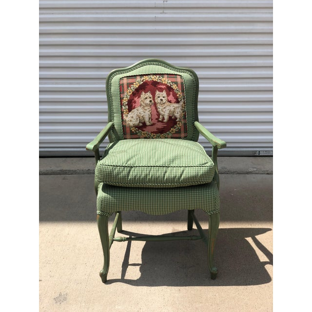 Late 20th Century Antique French Gingham Fabric & Dog Detailing Chair For Sale In Dallas - Image 6 of 9