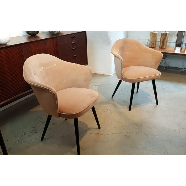 Contemporary Italian Modern Blush Velvet Chairs - A Pair For Sale - Image 3 of 10