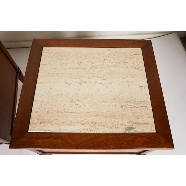 Bronze Midcentury Italian Walnut End Tables Inset With Travertine Tops For Sale - Image 8 of 12