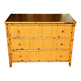 1950s Boho Chic Bamboo and Rattan Dresser For Sale