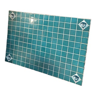 Vintage Beach Dolphin Lovers Handcrafted Aqua Tile Table Top For Sale