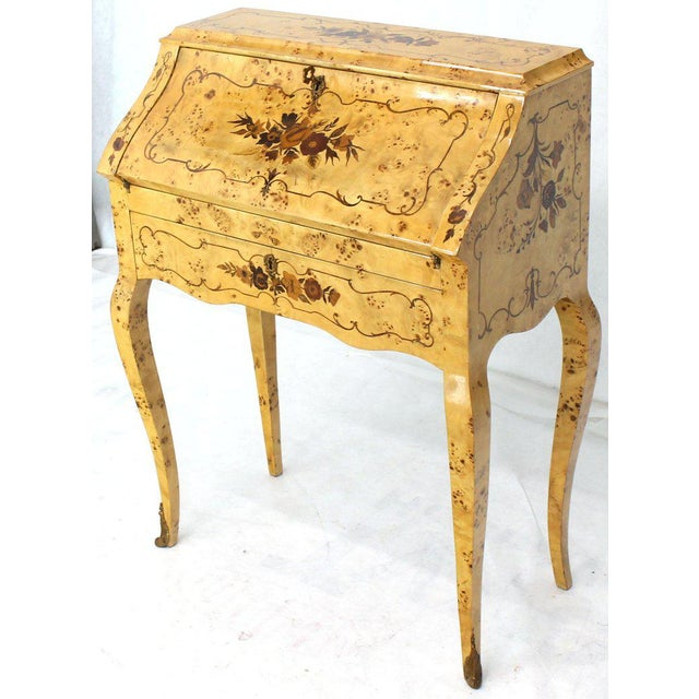 Italian Burl Wood Inlayed Drop Secretary Desk With Matching Bench Bronze Ormolu For Sale - Image 10 of 13