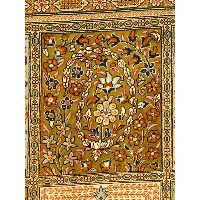 """Hand Knotted Pure Silk Persian Qom Rug - 4'10"""" x 4'10"""" - Image 3 of 9"""
