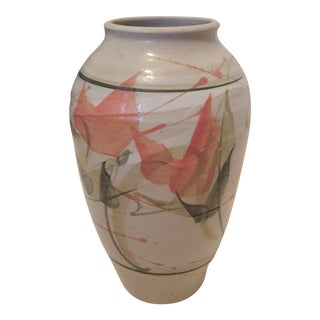 Vintage Studio Pottery Abstract Floral Vase Signed For Sale