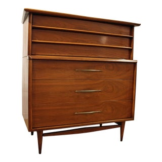 Mid-Century Modern Kent Coffey the Foreteller Walnut Tall Chest Dresser For Sale