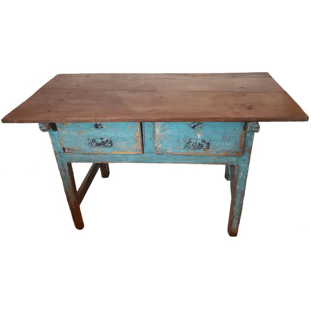 Rustic 19th Centuy Spanish Distressed Painted Table For Sale - Image 13 of 13