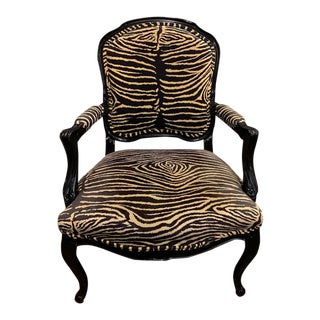 Vintage Mid Century French Style Faux Zebra Print Chair For Sale
