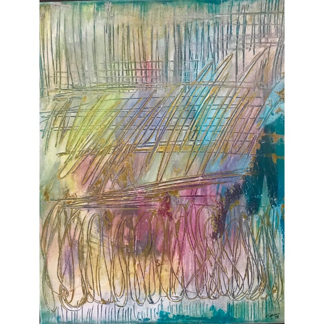 This original mixed media painting by textile designer and artist, Christy Almond, is a visual syphony of color,...