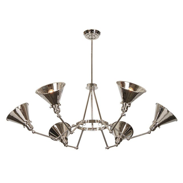 2010s Provence 6-Arm Chandelier in Polished Nickel For Sale - Image 5 of 6