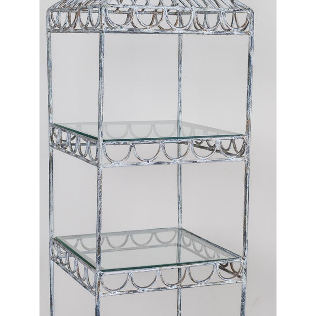 1950s Vintage French Square Painted Etagére Display Cabinet circa 1950 For Sale - Image 5 of 9