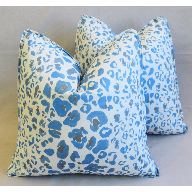 """Feather Pindler & Pindler Leopard Animal Spot & Velvet Feather/Down Pillows 20"""" Square - Pair For Sale - Image 7 of 13"""