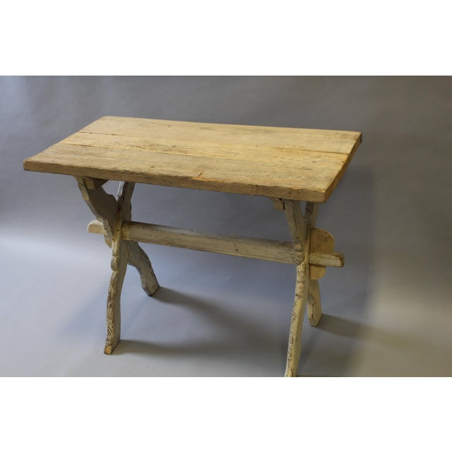 Rustic Bleached Pine Table With Trestle Base For Sale - Image 3 of 7