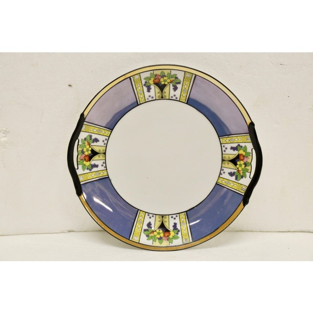 1930s Noritake Blue Luster Handled Cake Plate For Sale - Image 5 of 5