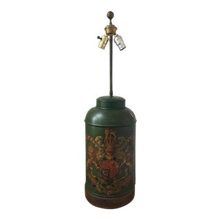 Antique Tole Armorial Tea Canister Lamp For Sale