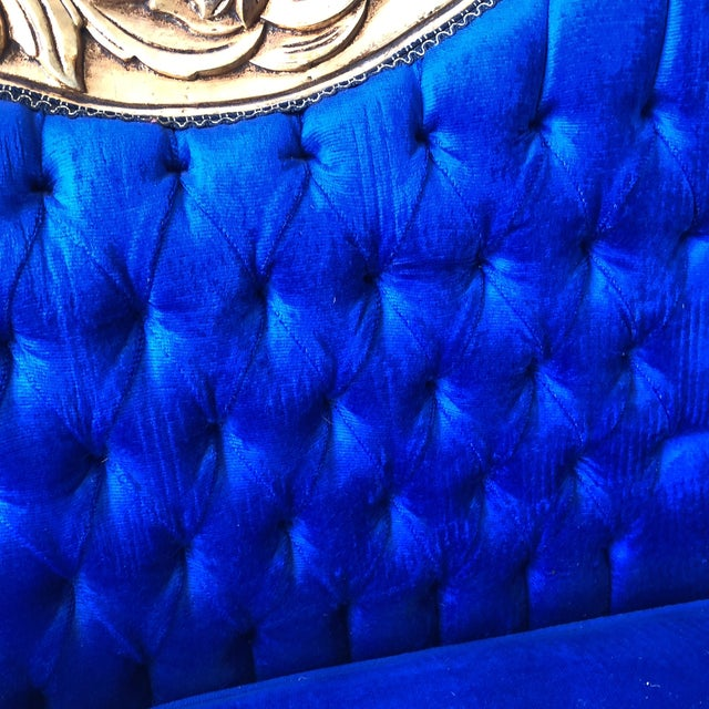 Rococo Gilded Blue Tufted Sofa For Sale In Atlanta - Image 6 of 8