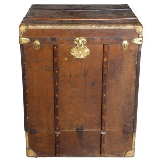 Antique Tall Leather Trunk Luggage For Sale