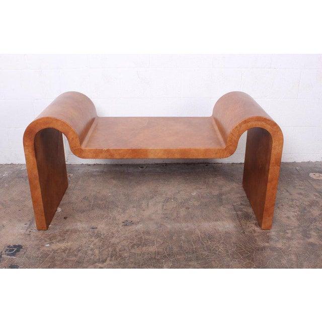 Mid-Century Modern Karl Springer Goatskin Parchment Bench For Sale - Image 3 of 13