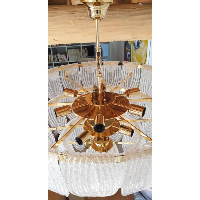 Large Mid Century Modern Clear Murano Glass Chandelier, Mazzega Style, Italy 1970s For Sale - Image 10 of 11