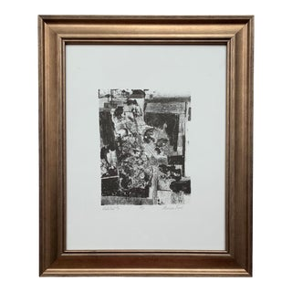 Vintage Mid-Century Abstract Framed Etching Print For Sale