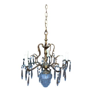 Antique Brass Crystal Six Arm Chandelier