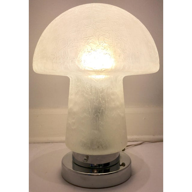 Contemporary 1960s Murano Glass & Chrome Mushroom Lamp For Sale - Image 3 of 8