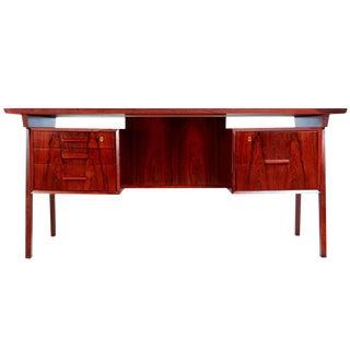 Brazilian Rosewood Desk With Reverse Bookshelf, Circa 1960 For Sale