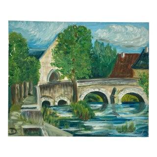 Vintage French Original Impressionist Landscape Painting For Sale