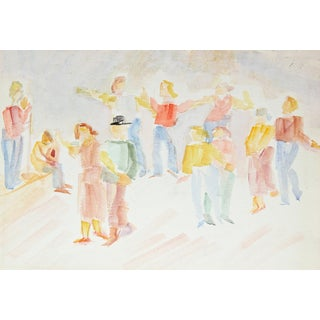 Jennings Tofel Dancing Couples Painting, C. 1940s For Sale