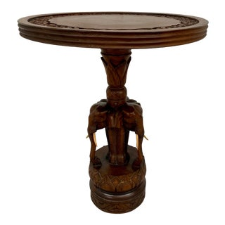 Hand Carved Exotic Wood Elephants With Tusks Side Table For Sale