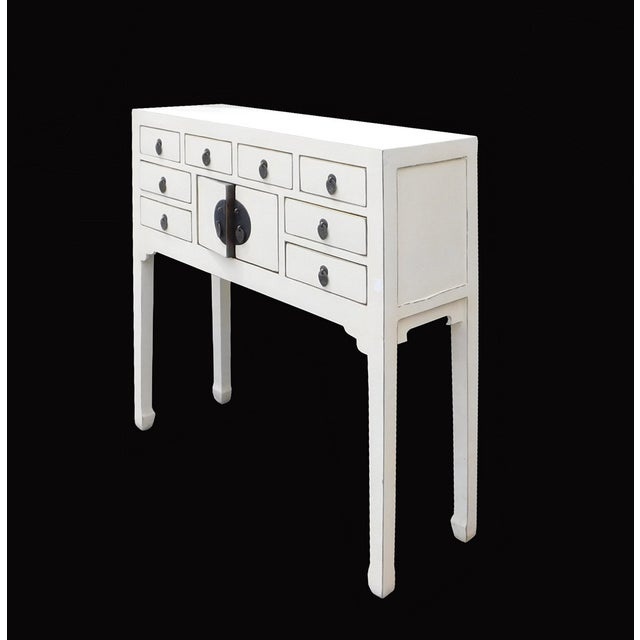 Off-White Distressed Console Table - Image 4 of 7