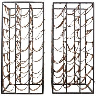 Pair of Iron and Leather Wine Racks by Arthur Umanoff, 1950s For Sale
