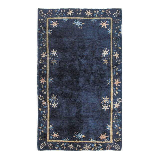 Art Deco Vintage Chinese Navy Rug Circa 1920 4' X 6'7 For Sale