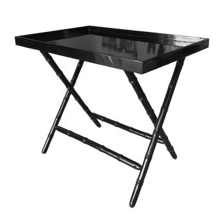 Faux Bamboo Black Lacquered Serving Tray Table- Bar For Sale