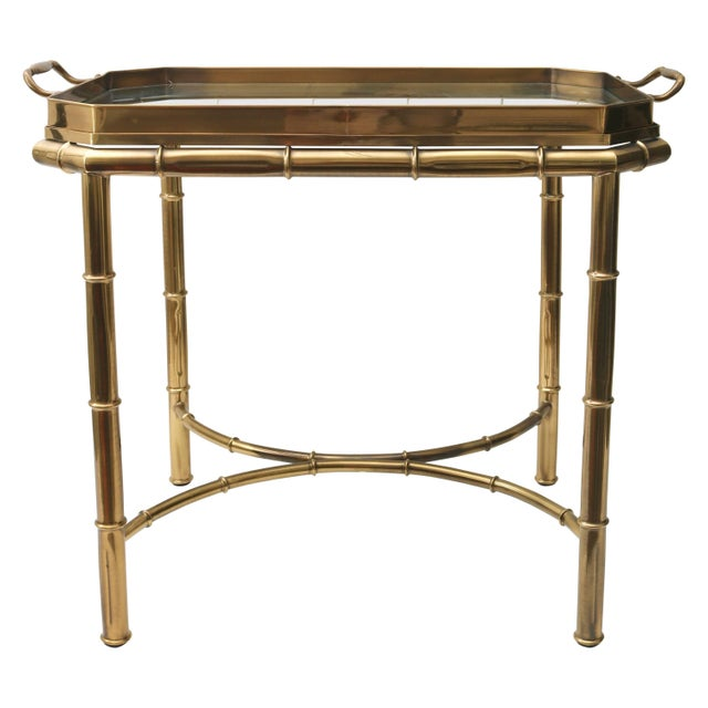 Mastercraft Faux Bamboo Tray Table in Antique Brass For Sale - Image 10 of 10