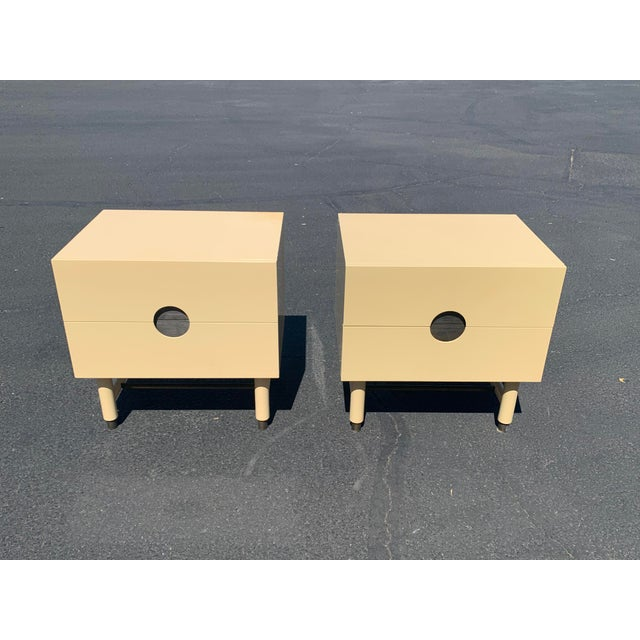 Lawson Fenning Niguel Brass and Lacquered Nightstands - a Pair For Sale - Image 11 of 12