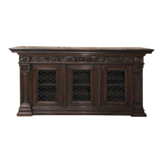 Antique Italian Walnut Renaissance Buffet/Credenza, Bookcase With Wrought Iron For Sale