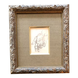 Original Vintage Miniature Pencil Study of a Hand
