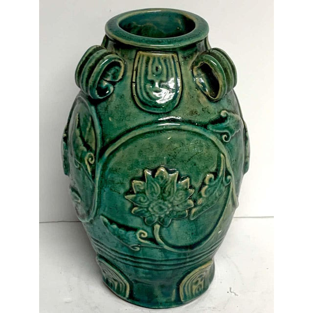 Chinese Green Glazed Lotus Motif Vase For Sale - Image 9 of 10
