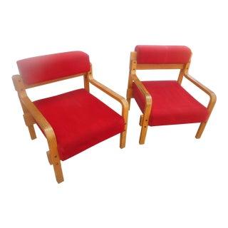Vintage Mid-Century Modern Amseco Bent Oak Club Chairs - A Pair
