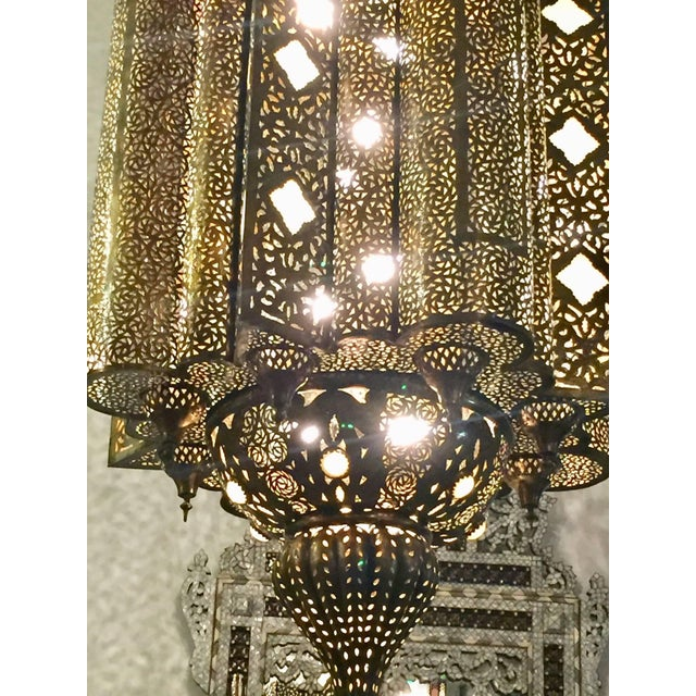 Large Moroccan Moorish Brass Chandelier For Sale - Image 4 of 13