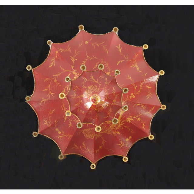 Metal Vintage Two Tiers Upside Down Umbrella Ceiling Chandelier With Bells, Red/Gold in Arabasic Design For Sale - Image 7 of 10