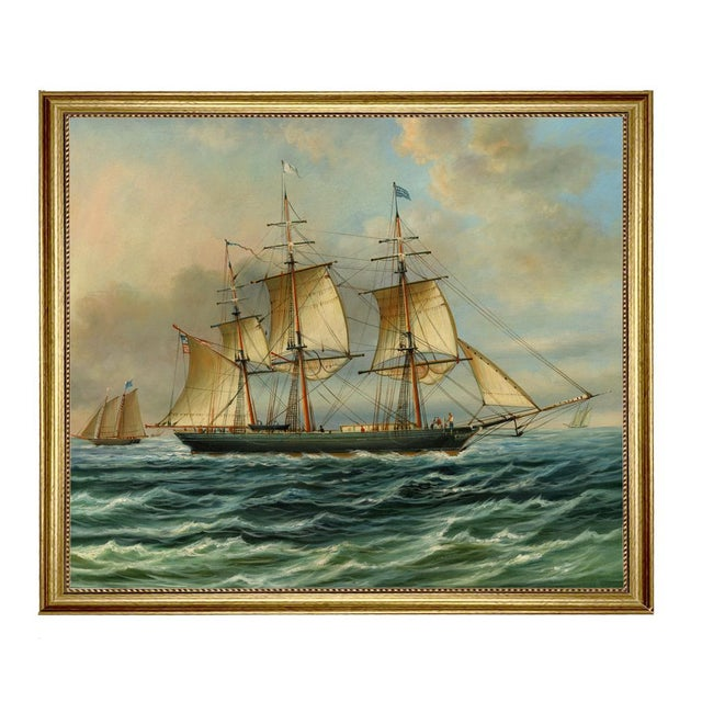 Baltimore Clipper Architect Framed Oil Painting Print on Canvas in Antiqued Gold Frame For Sale - Image 4 of 4