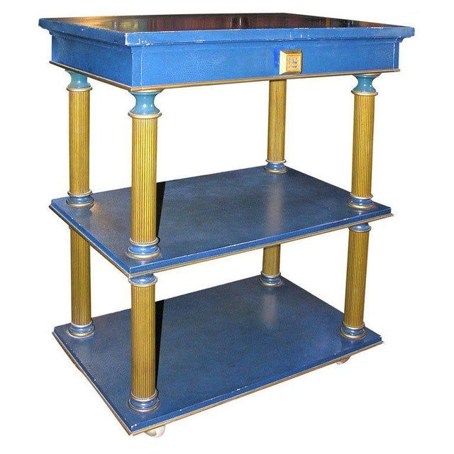 One drawer, three tier stand on casters designed by James Mont. Provenance: Ellis Orlowitz, King Cole penthouse, Miami,...