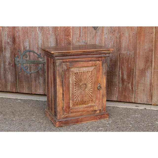 Brown Indo-Portuguese Sunburst Nightstand For Sale - Image 8 of 12